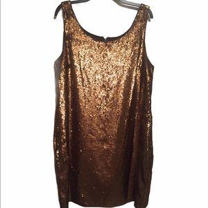 BNWT Lauren-Ralph Lauren copper sequins Dress sz16
